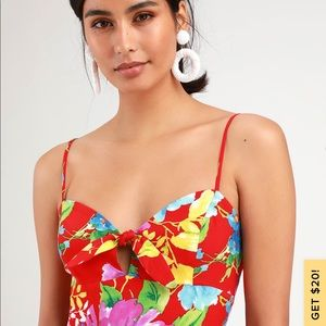 SANTIAGO RED FLORAL PRINT TIE-FRONT MAXI DRESS